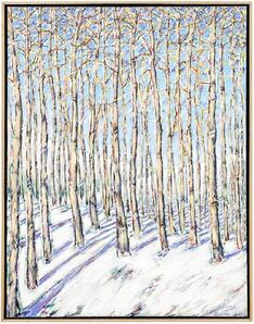 Gustavo Novoa, 'Aspen Grove, Large Scale Beautiful Landscape Snow Scene', Late 20th Century