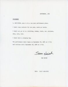 Tehching Hsieh, 'Sam Hsieh, One Year Performance: Outdoors, Project Statement', 1981