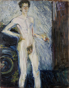 Richard Gerstl, 'Nude Self-Portrait with Palette', 1908