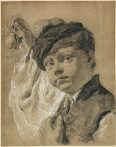 Giovanni Battista Piazzetta, 'A Boy Holding a Pear (Giacomo Piazzetta?)', 1737