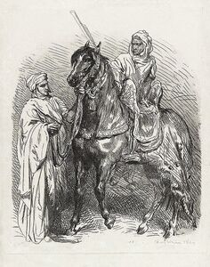 Théodore Chassériau, 'Arabe montant en selle / Cavalier arabe partant pour la guerre', 1849