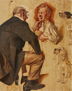 Joseph Christian Leyendecker, 'Study for Post Cover, Doctor Looking into Childs Mouth', 1930