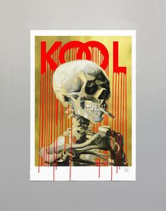 Zevs, 'Kool Skull of a Skeleton (Gold)', 2019
