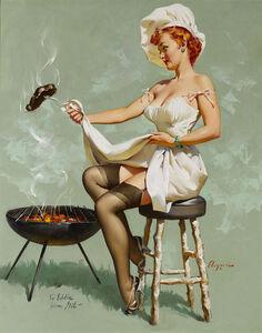 Gil Elvgren, 'A Lot at Steak by Gil Elvgren', 1937-1955