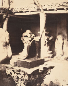 John Beasley Greene, '[Fragment of a Statue of King Thutmosis I in the Cherchell Museum]', 1856
