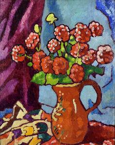 Louis Valtat, 'Fleurs Rouges à la Cruche Brune', ca. 1940