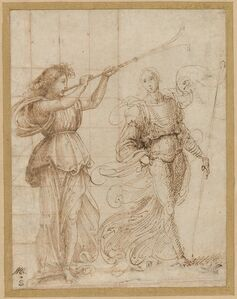 Baccio della Porta, called Fra Bartolommeo, 'An Angel Blowing a Trumpet, and Another Holding a Standard', ca. 1500