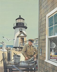 Stevan Dohanos, 'Lighthouse Keeper, Brant Point', 1954