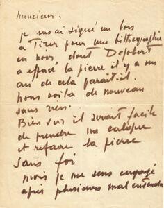 Nicolas de Staël, 'Autograph letter signed', Circa 1950