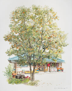 Me Kyeoung Lee, 'Convenience Store With Persimmon Tree', 2017
