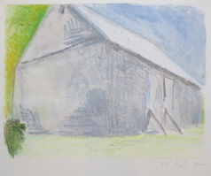 Wolf Kahn, 'Gray Barn with Propped Door', 2002