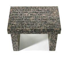 Jenny Holzer, 'Truism footstool : An elite is inevitable', 1988