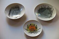"""Albisola Ceramics - set of three plates, 7"""" and 9"""""""