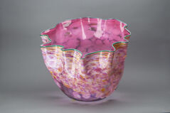Large Hand Blown Glass Sculpture Macchia Basket Signed, Dated