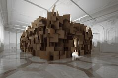 200 prepared dc-motors, 2000 cardboard elements 70x70cm