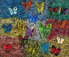 Hunt Slonem, 'Guardians Butterflies Fri', 2020