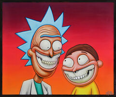 Ron English, 'Rick and Morty Grin', 2020