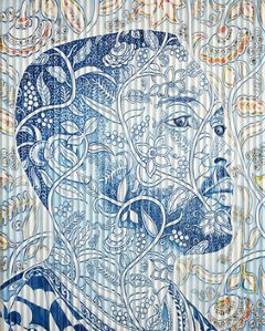 Gary Stephens, 'BLUE ARIEL WITH NEWSPRINT COLLAGE AND FLORAL FABRIC', 2020
