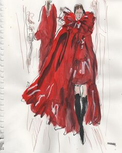Richard Haines, 'Woman with red feathered fan'