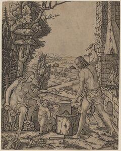 Marcantonio Raimondi, 'Vulcan, Venus, and Eros', 1508