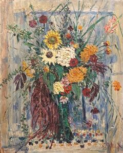 Samuel Rothbort, 'Large Modernist Floral Bouquet Impasto Oil Painting of Flowers in a Vase', 20th Century