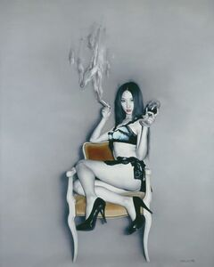He Sen, 'Smoking Girl with Wine Glass '