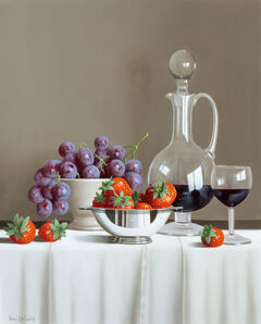 Tony de Wolf, 'Grapes, Strawberries and Wine Decanter'