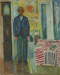 Edvard Munch, 'Self-Portrait. Between the Clock and the Bed', 1940-1943