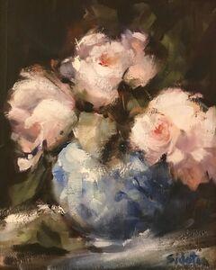 Rosalie Sidoti, 'Opening Blooms and Blue Vase', ca. 2018