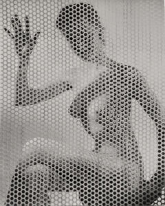 Erwin Blumenfeld, 'Nude Waving Behind Perforated Screen', ca. 1955