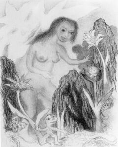 Ken Kiff, 'Girl and Rocks', 1991