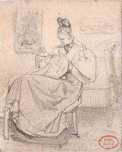Paul Huet, 'Caroline Richomme cousant (Caroline Richomme Sewing)', ca. 1834