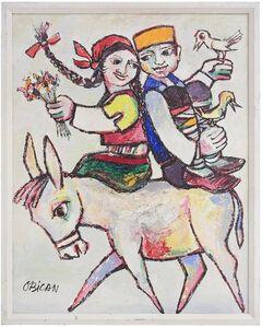 Jovan Obican, 'Colorful European Folk Art Painting Jovan Obican', 20th Century