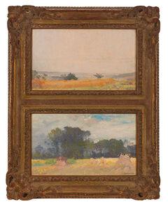 Robert William Vonnoh, 'Two Artworks: Summer Landscape; Summer Landscape with Hay'