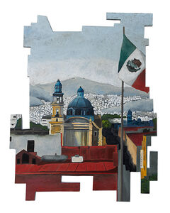 Cecilia Villanueva, 'The Valley, Mexico City Architecture, cityscape, landscape in blue, gray, red and yellow, flag, dome, white housing, mountains, roof , sky woodcut', 2019