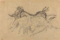 "Racehorses (study for ""Scene from the Steeplechase: The Fallen Jockey"")"