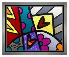 Romero Britto, 'Romero Britto Original Acrylic Painting On Board Signed Pop Art Framed Heart SBO', 2010