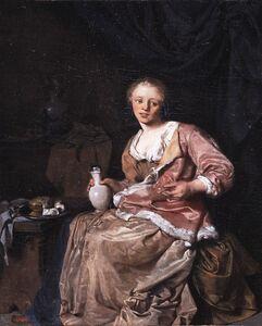 Cornelis Bega, 'Young woman with wine glass', 1663