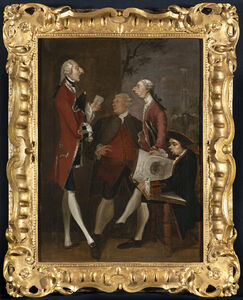Joshua Reynolds, 'Caricature of Lord Bruce, Thomas Brudenell-Bruce, later, 1st Earl of Ailesbury; the Hon. John Ward; Joseph Leeson, Jnr, later 2nd Earl of Milltown, and Joseph Henry of Straffan, ', c. early 1751