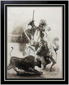 Byron Browne, 'BYRON BROWNE Original PAINTING Gouache on Board Signed Rare Don Quixote Art oil', 1956