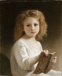 William-Adolphe Bouguereau, 'The Story Book', 1877