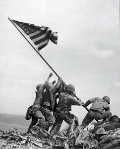 Joe Rosenthal, 'Marines of the 28th Regiment Raise American Flag atop Mt. Suribachi, Iwo Jima, Ref #32279', 1945