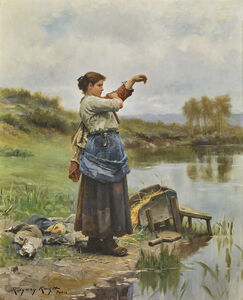 Daniel Ridgway Knight, 'YOUNG LAUNDRESS (JEUNE FILLE METTANT CARACO)', ca. 1889