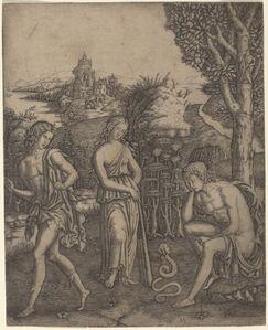 Marcantonio Raimondi, 'Serpent Speaking to a Young Man'