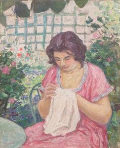Albert André, 'Femme en Rose Cousant dans le Jardin', ca. 1912