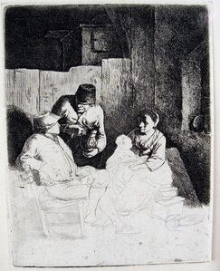 Cornelis Bega, 'The Mother Seated in the Inn (First State)', 1661-1664