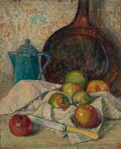 George Brainerd Burr, 'Still Life with Apples, Knife, Coffee Pot and Bottle of Wine'