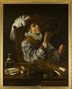 Cecco del Caravaggio, 'A Musician', about 1615