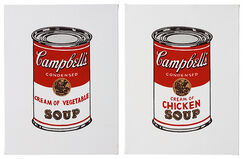 Andy Warhol Set of 2 Appropriations: Cream of Vegetable Soup and Cream of Chicken Soup from 32 Campbell's Soups, 1962
