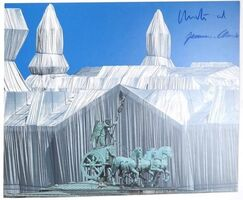 """Christo and Jeanne-Claude, '""""Wrapped Reichstag"""" Project, SIGNED, LARGE Offset Color Lithographic Poster ', 1995"""